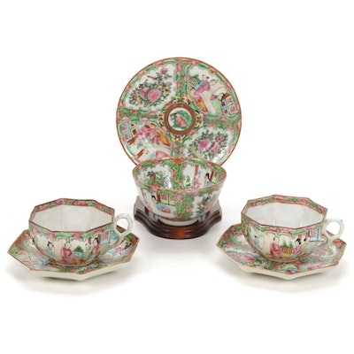 Chinese Export Porcelain Rose Medallion Hexagonal Teacups and Other Tableware