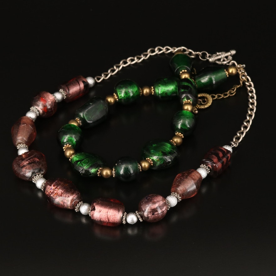 Beaded Necklaces with Foiled Glass