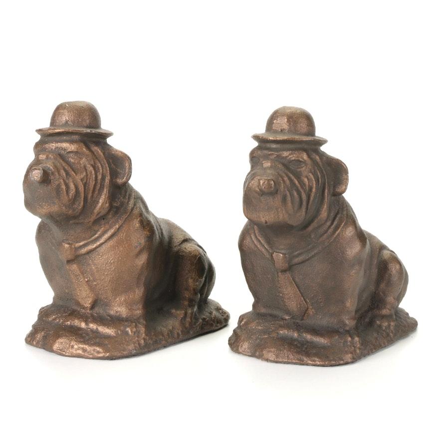Patinated Cast Iron Cigar Smoking Bulldog Bookends, Mid-20th Century