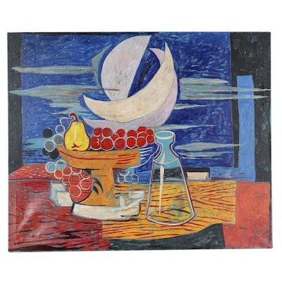 """Eduardo Oliva Large-Scale Modernist Still Life Oil Painting """"Blau Bodega,"""" 1988"""