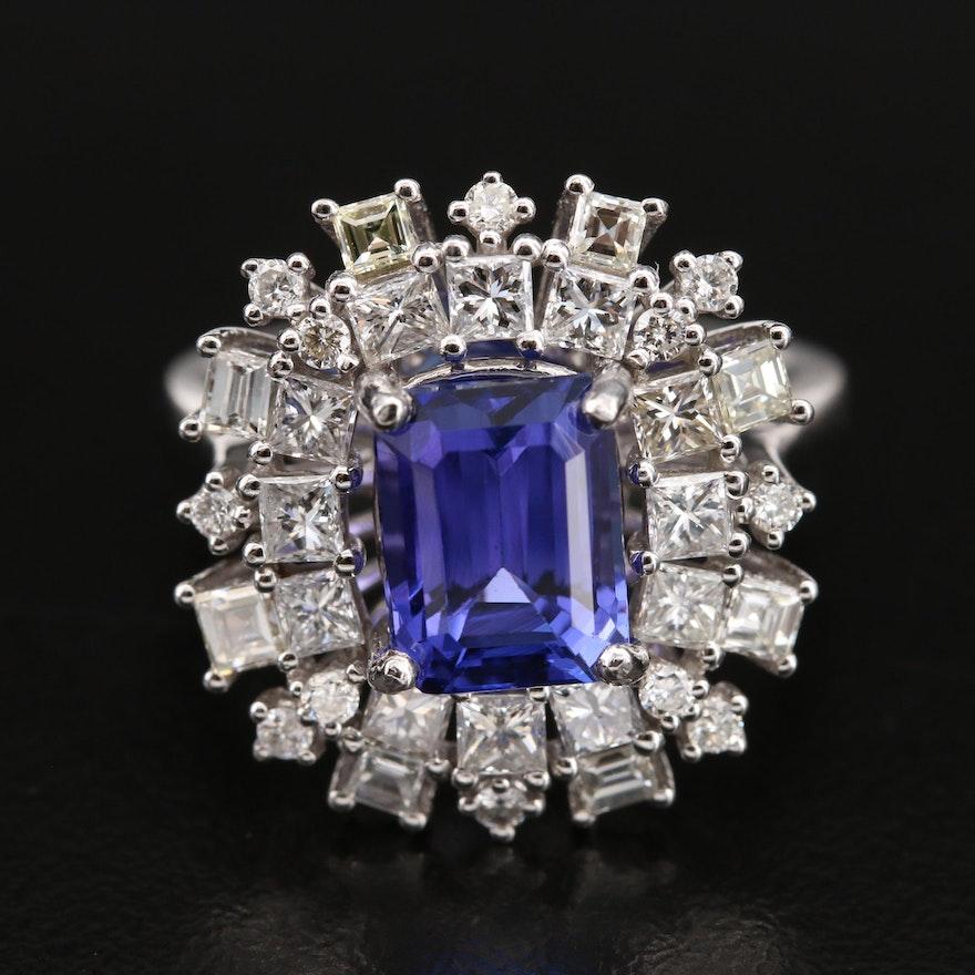 14K 2.89 CT Tanzanite and 1.79 CTW Diamond Ring