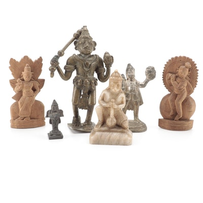 Metal, Stone, and Carved Wood Figurines Including Hindu Deities
