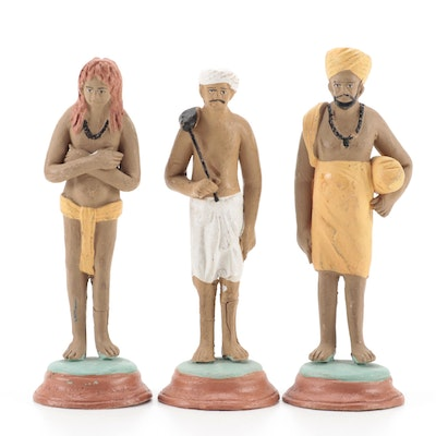 Middle Eastern Hand-Painted Red Clay Figurines