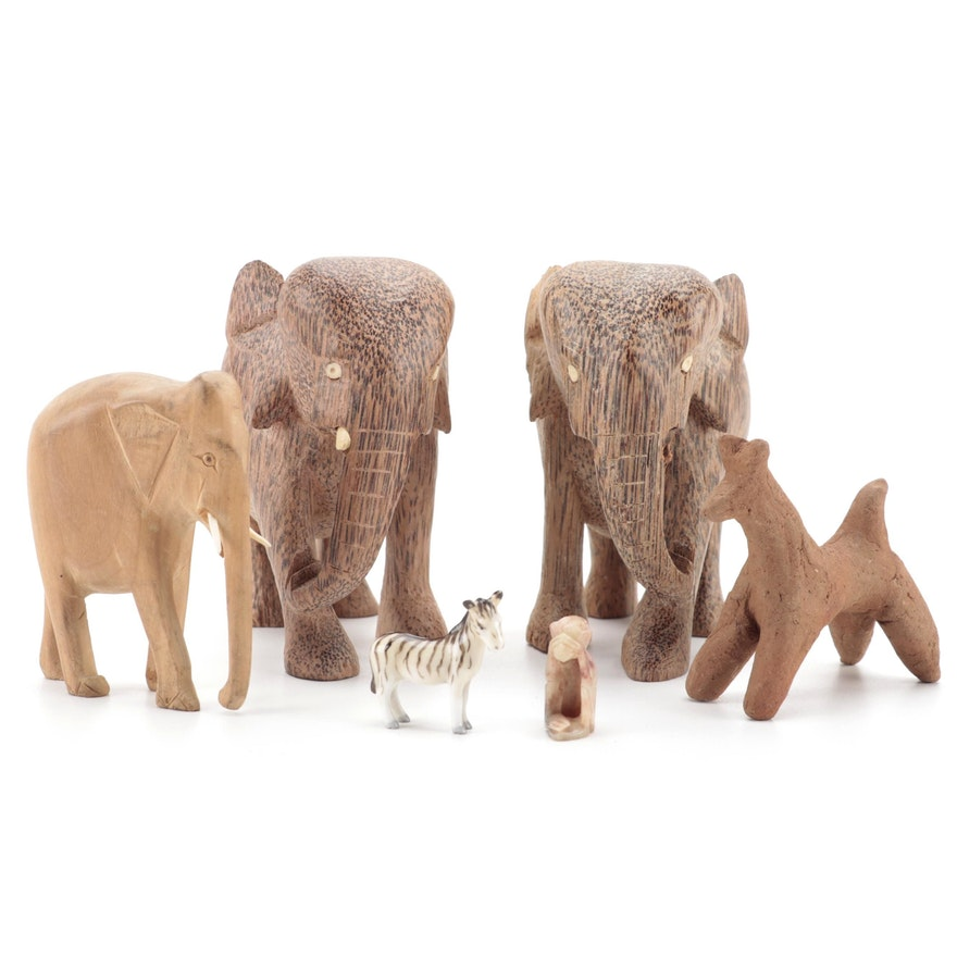 Handcrafted Wood, Clay, Stone, and Porcelain Animal Figurines