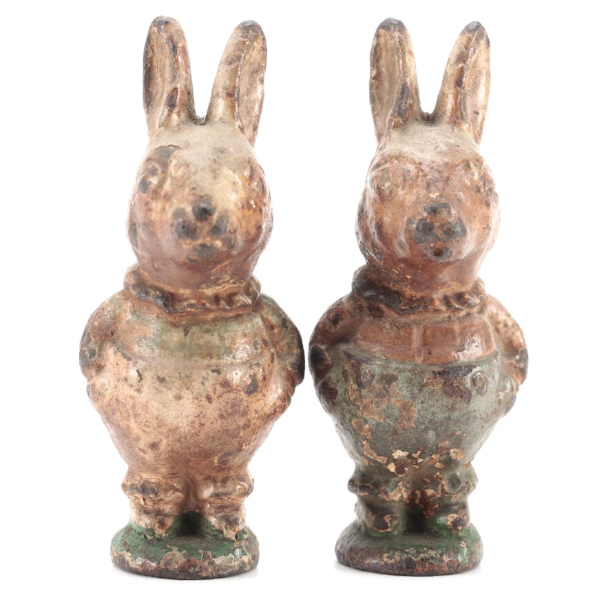 Cold Painted Cast Iron Miniature Rabbit Figurines, Early 20th Century