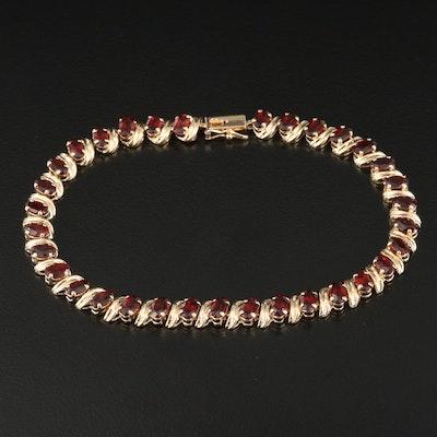14K Garnet S Link Bracelet