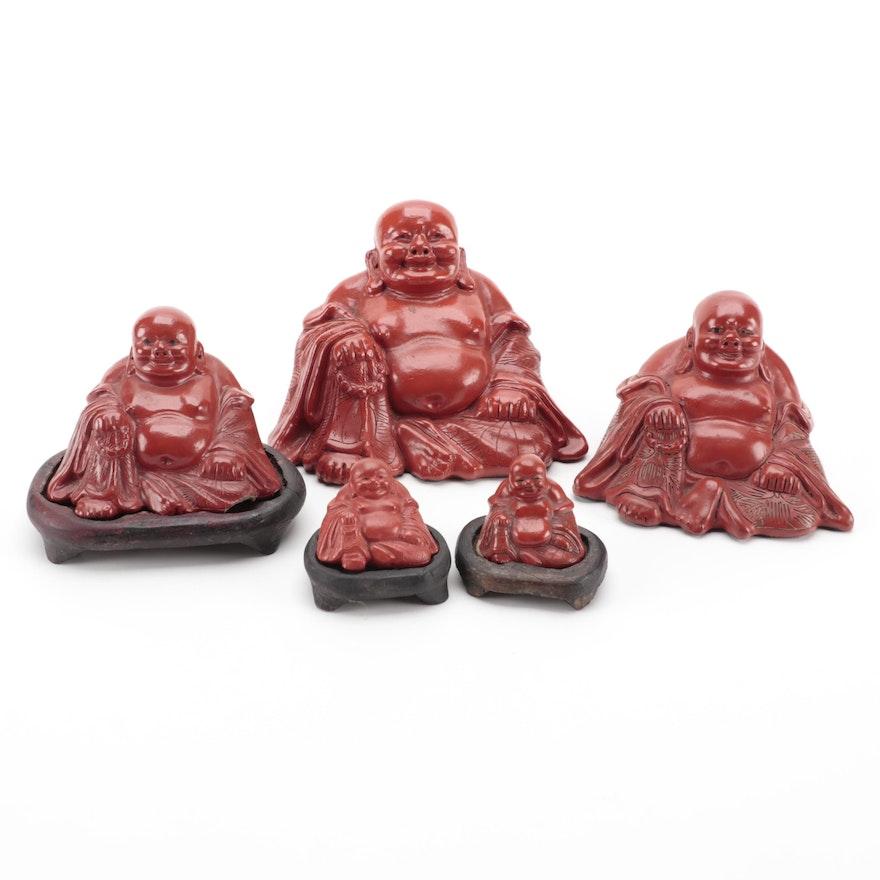 Chinese Lacquerware Seated Buddha Figurines