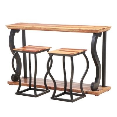 Sheesham Wood and Black-Painted Metal Console Table and Two Stools