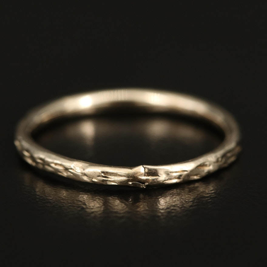 14K Textured Hollow Formed Band