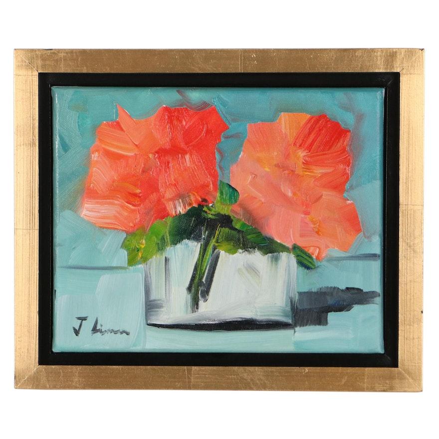 José M. Lima Floral Still Life Oil Painting, 2021