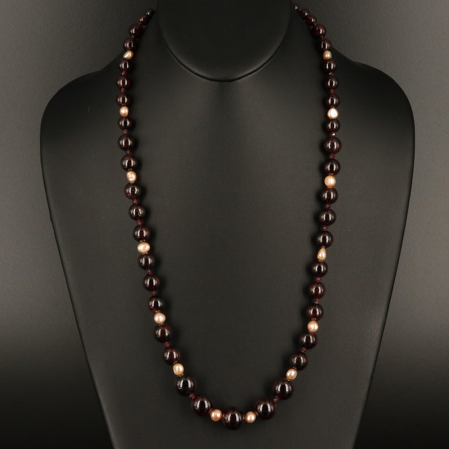 Graduated Garnet and Pearl Necklace with Sterling Clasp