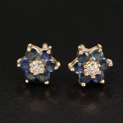 14K Sapphire and Diamond Flower Stud Earrings