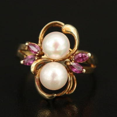 14K Pearl and Ruby Ring