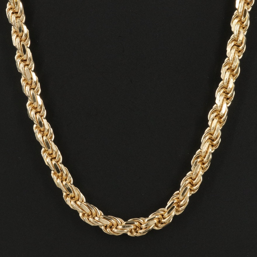 Sterling Silver Italian Rope Chain Necklace
