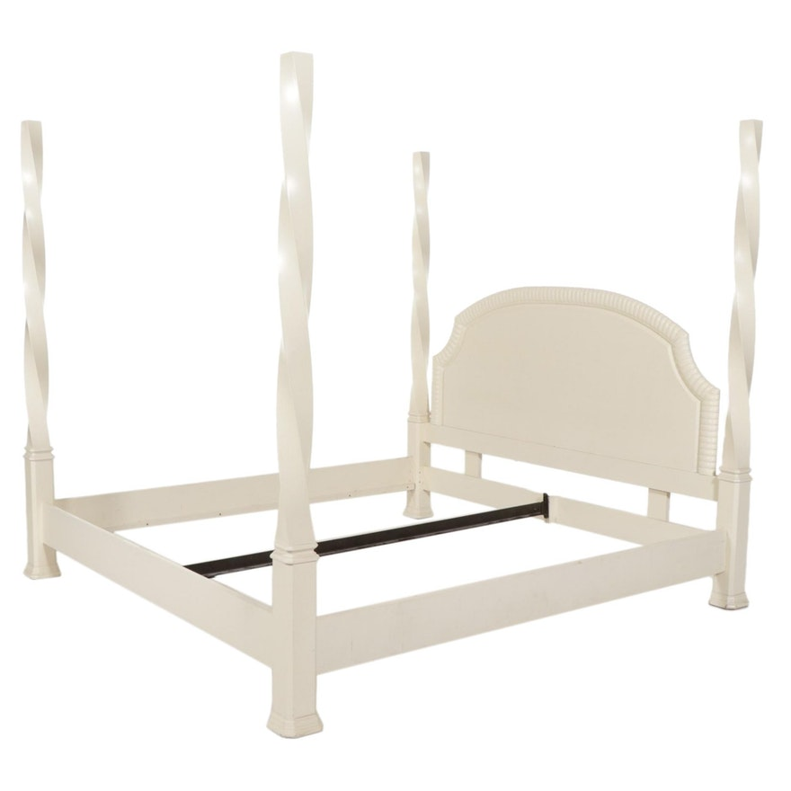 Contemporary White-Painted Four Poster Twist King Size Bed Frame