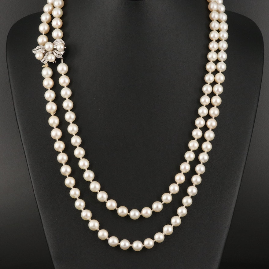 Double Strand Pearl Necklace with 14K Diamond Clasp