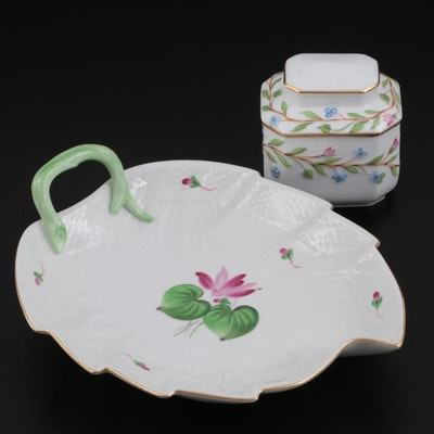 Herend Porcelain Tea Caddy with Lid and Leaf Dish