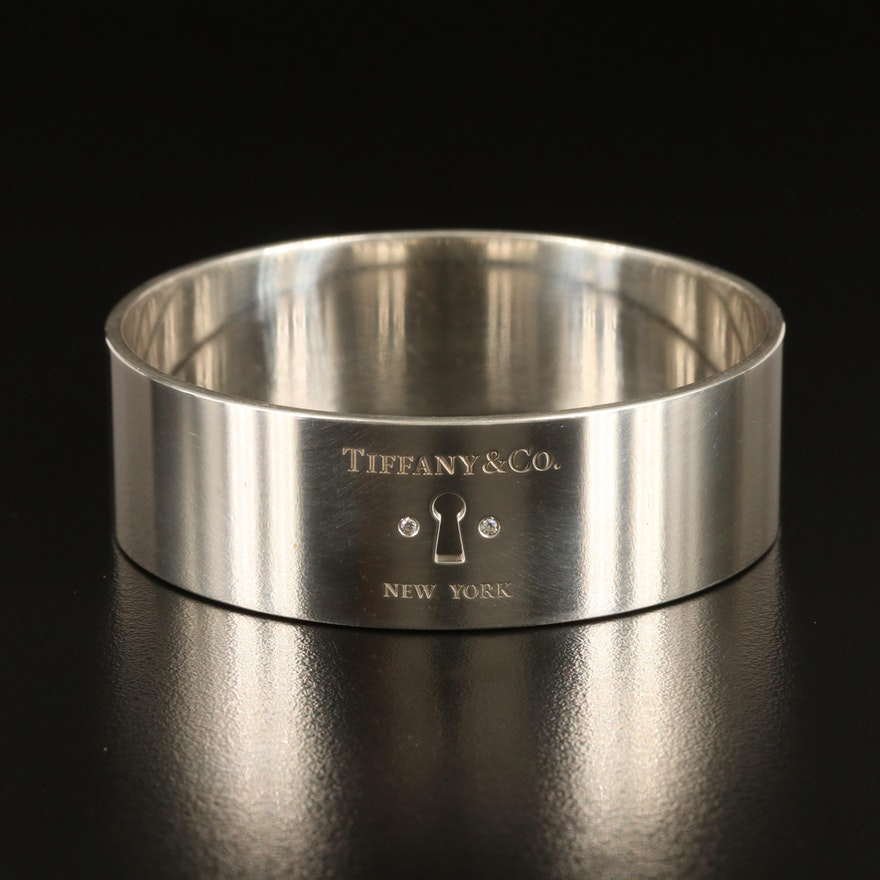 """Tiffany & Co. """"Locks"""" Sterling Keyhole Bangle with 0.04 CTW Diamond Accents"""
