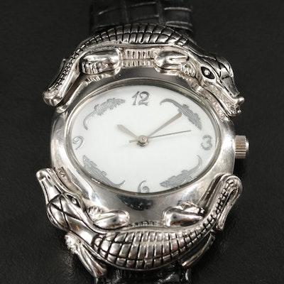 Sterling Silver Barry Kieselstein Alligator Wristwatch