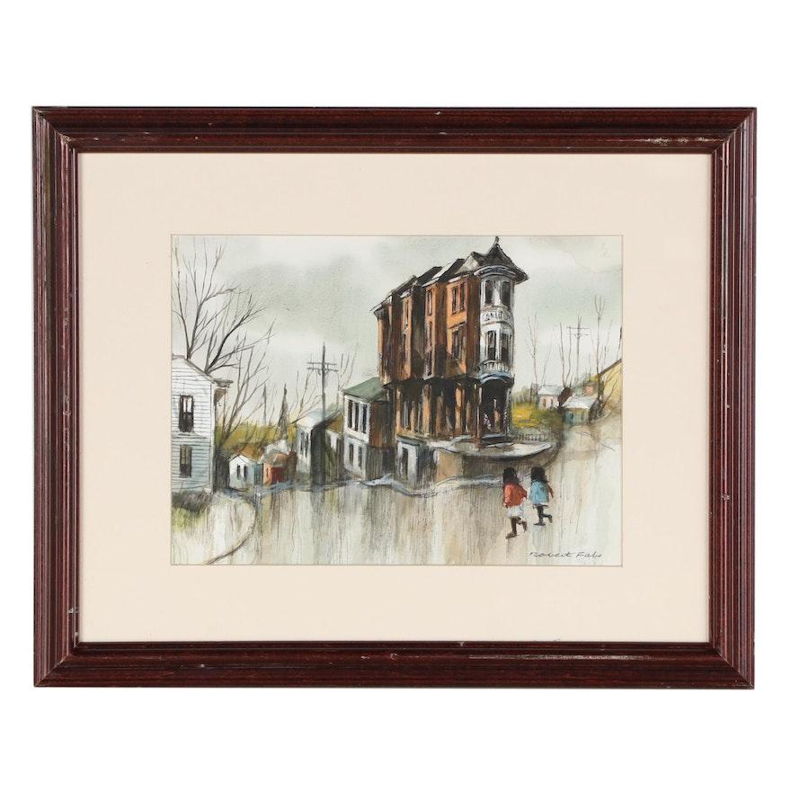 Robert Fabe Street Scene Watercolor Painting