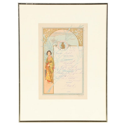 Compagnie des Messageries Maritimes Café Lithograph Menu Card, 1904