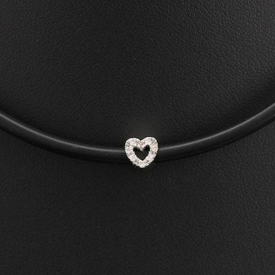 Italian 18K Diamond Heart Necklace