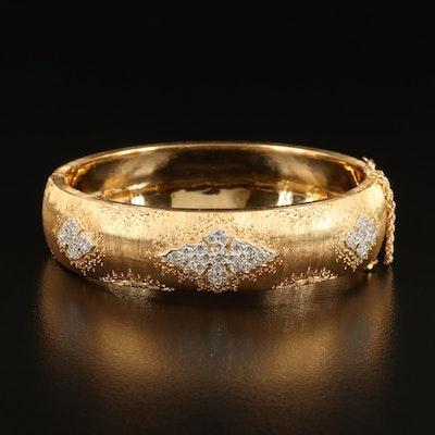 Artisan Signed 18K 0.85 CTW Diamond Hinged Bangle with Brushed Finish