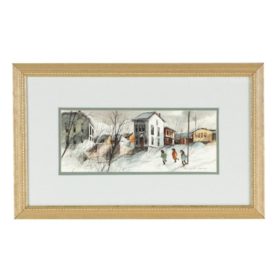 Robert Fabe Watercolor Painting of Winter City Scene