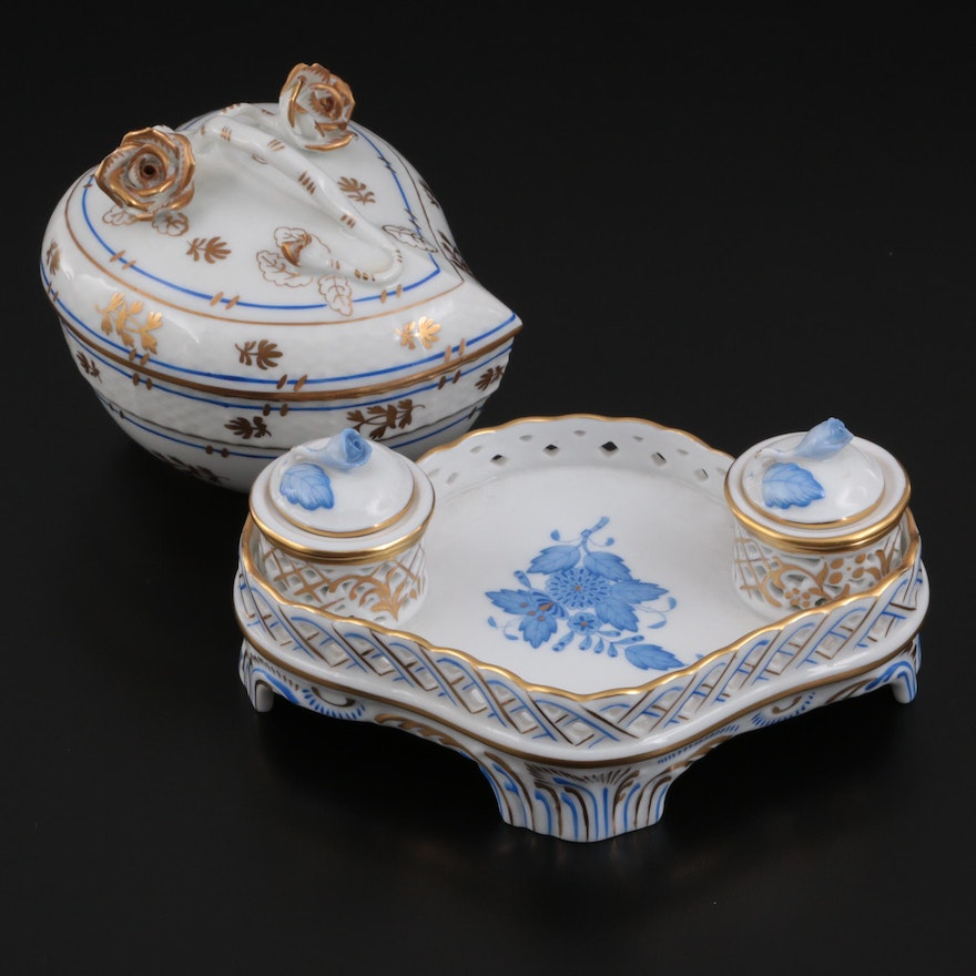 """Herend """"Chinese Bouquet Blue"""" Porcelain Double Ink Stand and Bon Bon Box"""