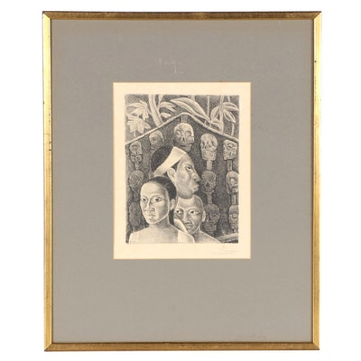Figural Lithograph, Late 20th Century