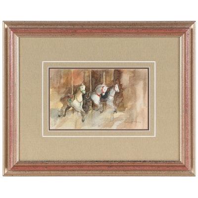 Robert Fabe Watercolor Painting of Carousel Horses