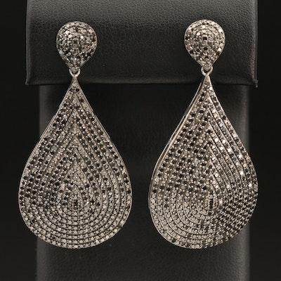 Sterling 5.00 CTW Diamond Teardrop Earrings