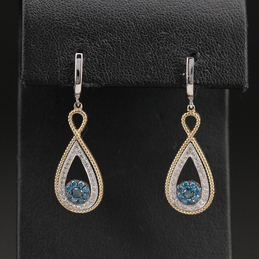 10K Two-Tone 0.70 CTW Diamond Infinity Earrings