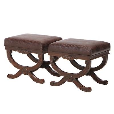 Pair of Coaster Fine Furniture Hardwood and Faux-Alligator Curule Stools