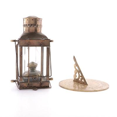 Viking Brass Nautical Oil Lantern and Other Brass Sundial