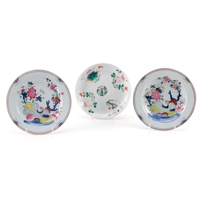 Chinese Hand-Painted Floral Motif Ceramic Bowls, Late 20th Century