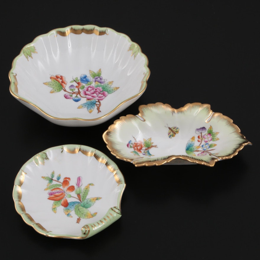 """Herend """"Queen Victoria"""" Porcelain Candy, Nut and Trinket Dishes"""