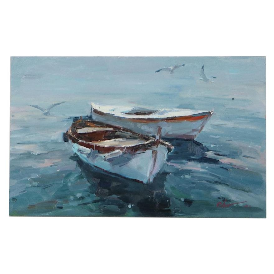 "Sergey Chernyakovsky Oil Painting ""Sea,"" 2021"