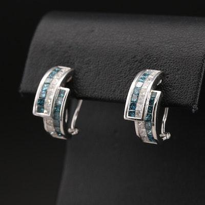 14K 2.80 CTW Diamond J Hoop Earrings