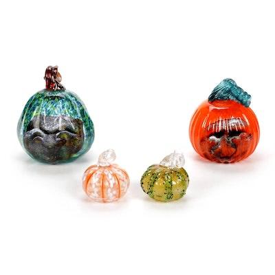 Andy Hudson Handblown Art Glass Pumkpin Figurines, 2020