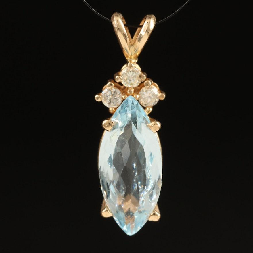 14K Aquamarine and Diamond Navette Pendant