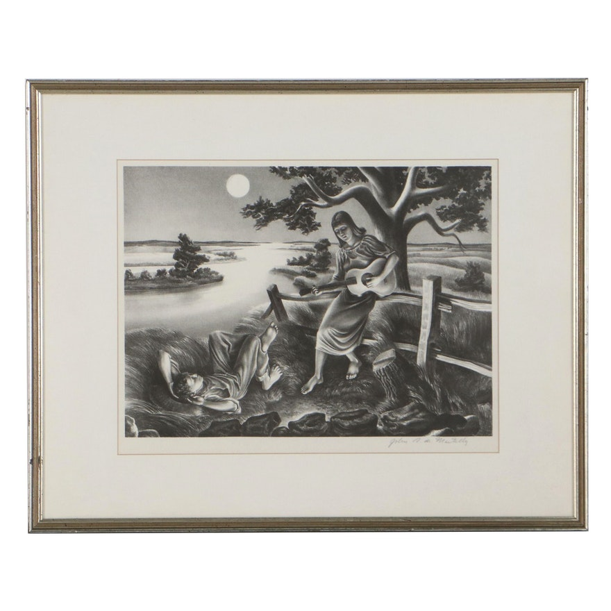 "John Stockton De Martelly Lithograph ""Old Moon,"" Mid-20th Century"