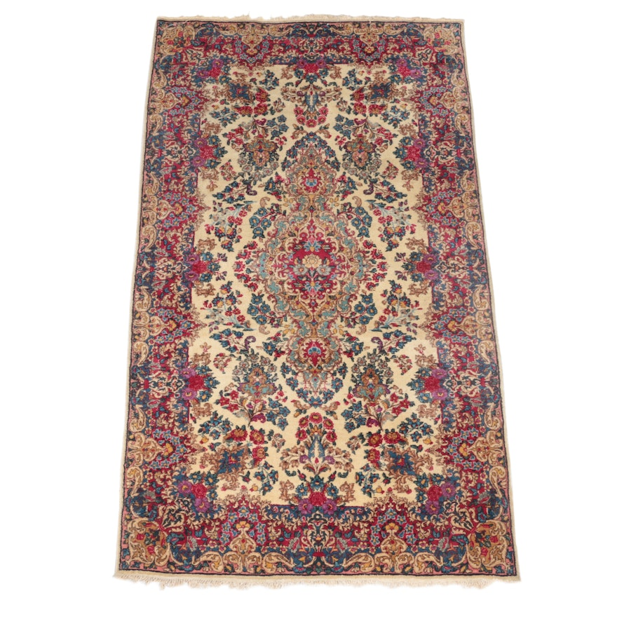 3'11 x 7'1 Hand-Knotted Persian Kerman Area Rug