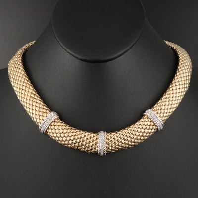 Italian 14K 0.81 CTW Diamond Mesh Collar Necklace