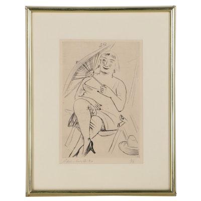 """Paul Kleinschmidt Etching """"Woman & Umbrella,"""" 1930"""
