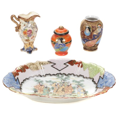 Japanese Satsuma Moriage Accented Vases and Ginger Jar with Other Tableware