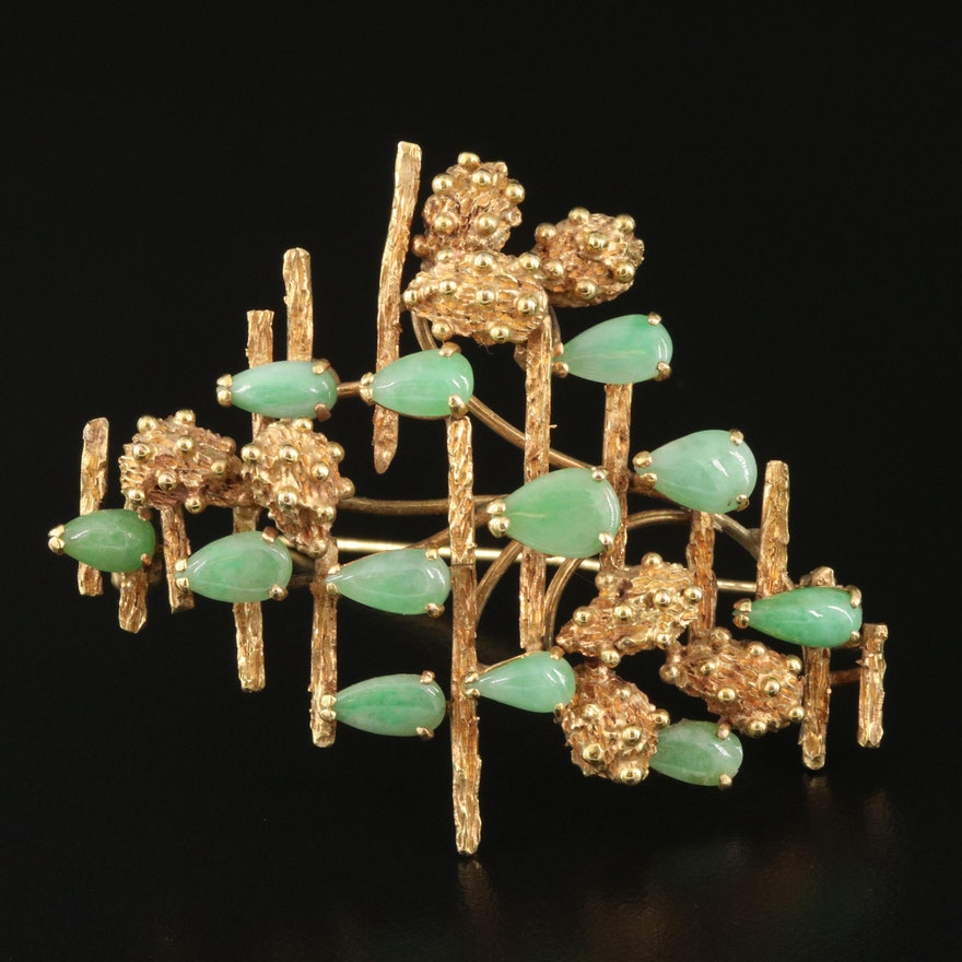 1950s 14K Jadeite Textured Geometric Brooch