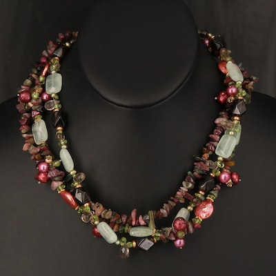 Sterling Beaded Triple Strand Necklace with Tourmaline, Pearl, Rhodolite Garnet