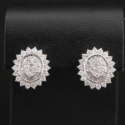14K 2.49 CTW Diamond Button Earrings