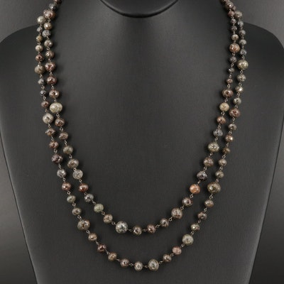 14K Diamond Bead Necklace with 18K Clasp